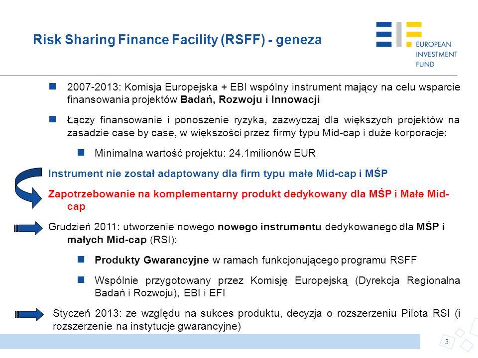Risk Sharing Finance Facility (RSFF) - geneza 2007-2013: Komisja Europejska + EBI wspólny instrument mający na celu wsparcie finansowania projektów Ba