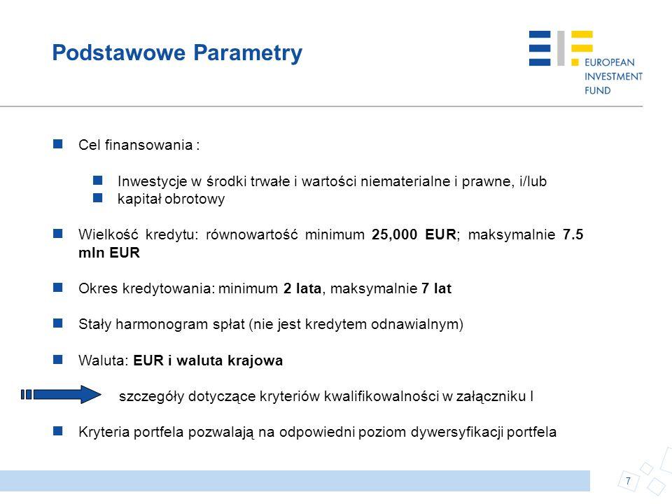Podstawowe Parametry Cel finansowania : Inwestycje w środki trwałe i wartości niematerialne i prawne, i/lub kapitał obrotowy Wielkość kredytu: równowa