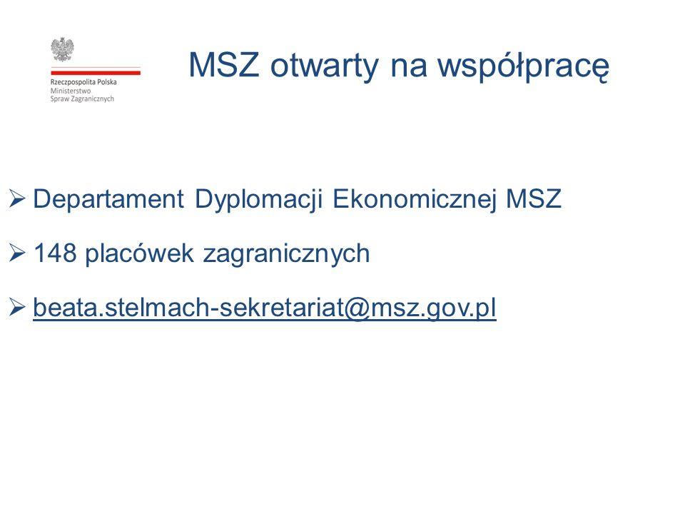 MSZ otwarty na współpracę Departament Dyplomacji Ekonomicznej MSZ 148 placówek zagranicznych beata.stelmach-sekretariat@msz.gov.pl