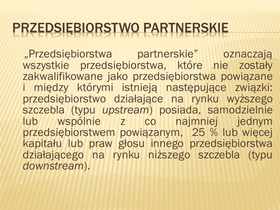 Przedsiębiorstwa partnerskie oznaczają wszystkie przedsiębiorstwa, które nie zostały zakwalifikowane jako przedsiębiorstwa powiązane i między którymi