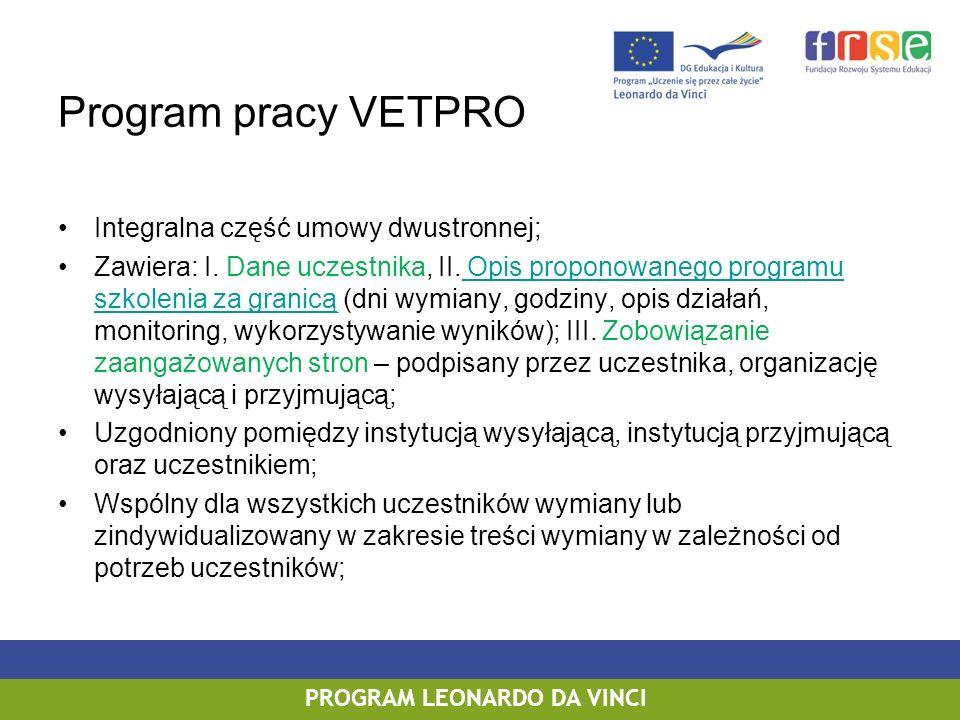 PROGRAM LEONARDO DA VINCI Zasady przygotowania umowy dwustronnej Sporządzona dla każdego uczestnika, przed rozpoczęciem wymiany; Sporządzona wg wzoru Komisji Europejskiej w 2 egzemplarzach; Przygotowana w języku polskim, dodatkowo możliwe przygotowanie umowy w języku obcym; Niedopuszczalne wykreślanie zapisów w umowie, w przypadku, gdy jakikolwiek zapis umowy nie ma zastosowania – należy zachować jego treść w oryginale umowy z zaznaczeniem – nie dotyczy; Dopuszczalne rozbudowanie umowy o artykuły, których uregulowanie jest ważne z punktu widzenia beneficjenta.