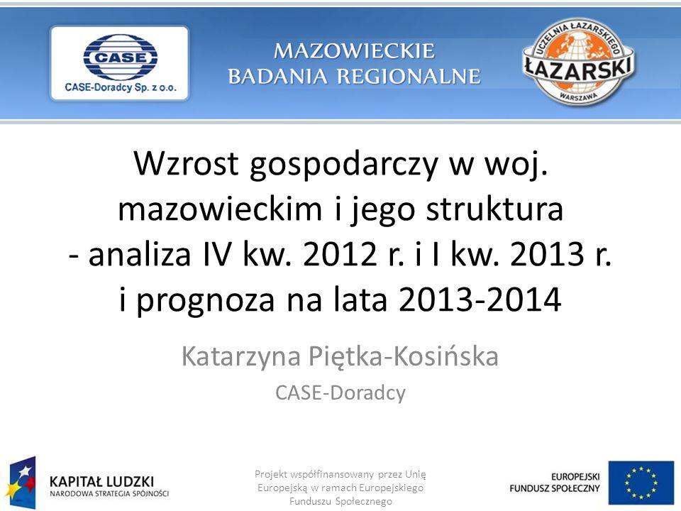 Wzrost gospodarczy w woj. mazowieckim i jego struktura - analiza IV kw. 2012 r. i I kw. 2013 r. i prognoza na lata 2013-2014 Katarzyna Piętka-Kosińska