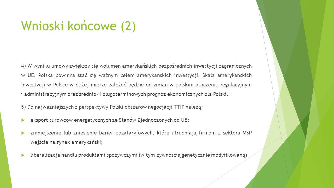 Wnioski końcowe (2) 4) W wyniku umowy zwiększy się wolumen amerykańskich bezpośrednich inwestycji zagranicznych w UE, Polska powinna stać się ważnym c