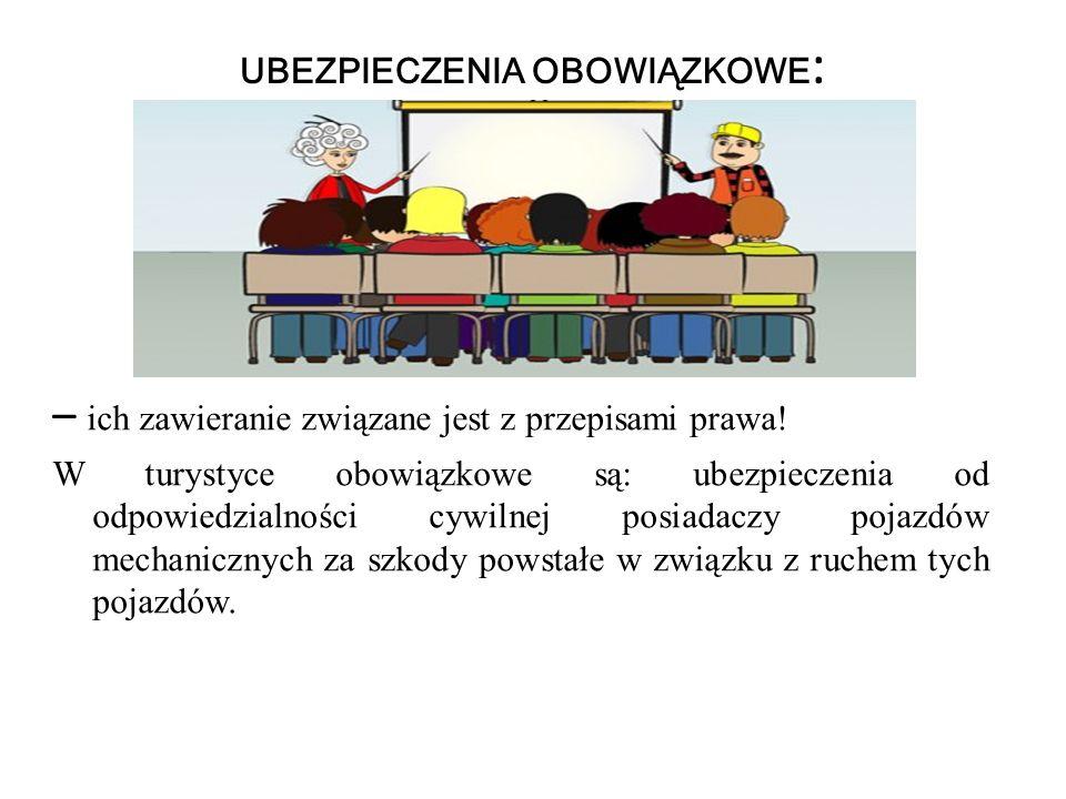 UBEZPIECZENIA OBOWIĄZKOWE : – ich zawieranie związane jest z przepisami prawa! W turystyce obowiązkowe są: ubezpieczenia od odpowiedzialności cywilnej