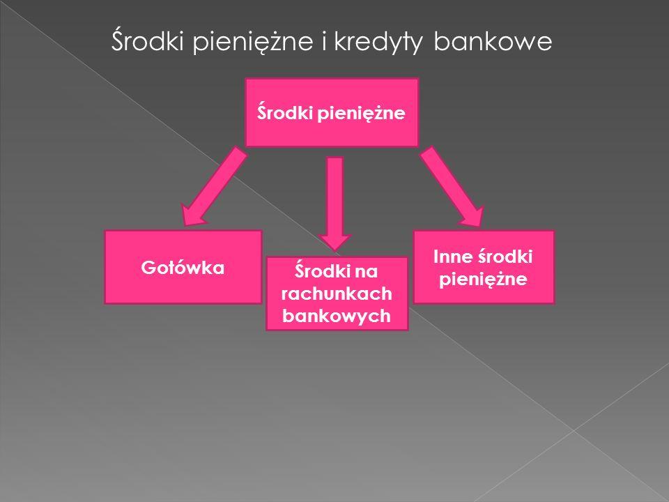Środki pieniężne i kredyty bankowe Środki pieniężne Gotówka Środki na rachunkach bankowych Inne środki pieniężne
