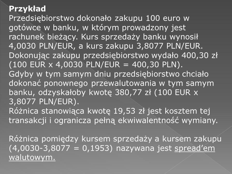Przykład Przedsiębiorstwo dokonało zakupu 100 euro w gotówce w banku, w którym prowadzony jest rachunek bieżący. Kurs sprzedaży banku wynosił 4,0030 P