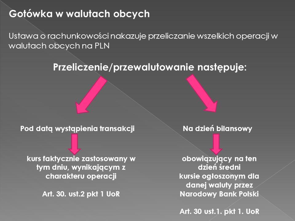 Gotówka w walutach obcych obowiązujący na ten dzień średni kursie ogłoszonym dla danej waluty przez Narodowy Bank Polski Art. 30 ust.1. pkt 1. UoR Ust