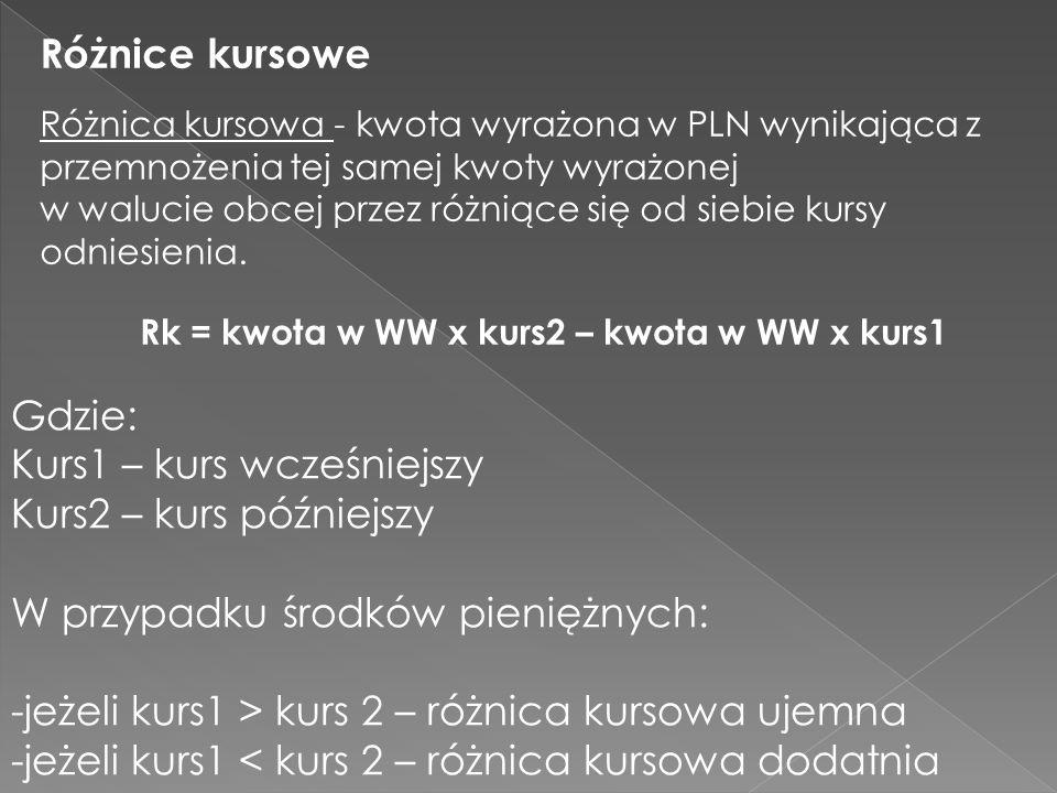 Różnice kursowe Różnica kursowa - kwota wyrażona w PLN wynikająca z przemnożenia tej samej kwoty wyrażonej w walucie obcej przez różniące się od siebi