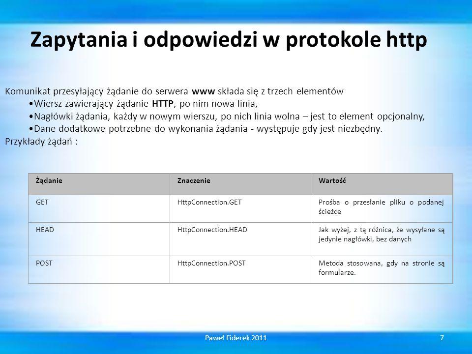 Zapytania i odpowiedzi w protokole http Komunikat przesyłający żądanie do serwera www składa się z trzech elementów Wiersz zawierający żądanie HTTP, po nim nowa linia, Nagłówki żądania, każdy w nowym wierszu, po nich linia wolna – jest to element opcjonalny, Dane dodatkowe potrzebne do wykonania żądania - występuje gdy jest niezbędny.