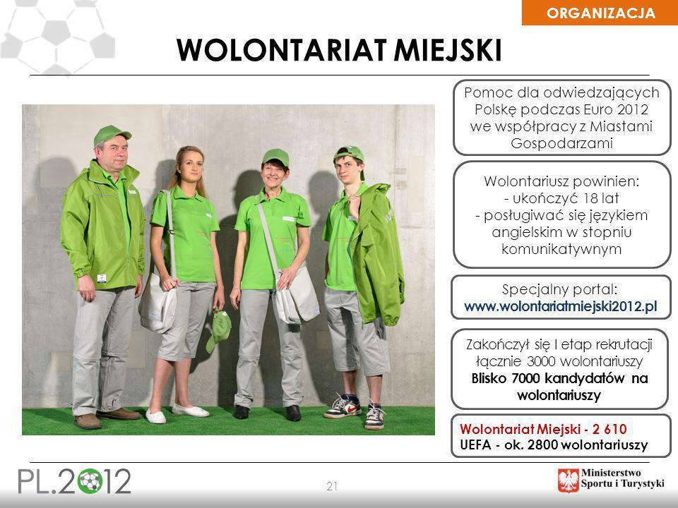 ORGANIZACJA 21 WOLONTARIAT MIEJSKI Specjalny portal: www.wolontariatmiejski2012.pl Wolontariusz powinien: - ukończyć 18 lat - posługiwać się językiem