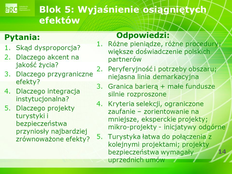 14 Blok 5: Wyjaśnienie osiągniętych efektów Pytania: 1.Skąd dysproporcja.