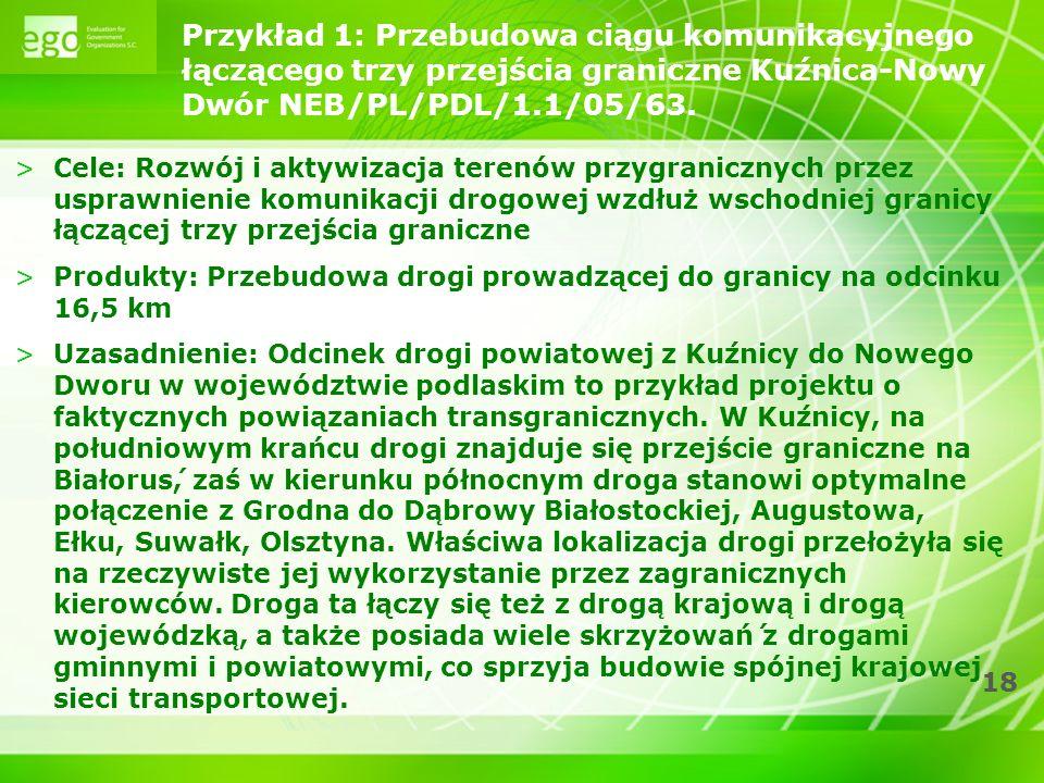 18 Przykład 1: Przebudowa ciągu komunikacyjnego łączącego trzy przejścia graniczne Kuźnica-Nowy Dwór NEB/PL/PDL/1.1/05/63.