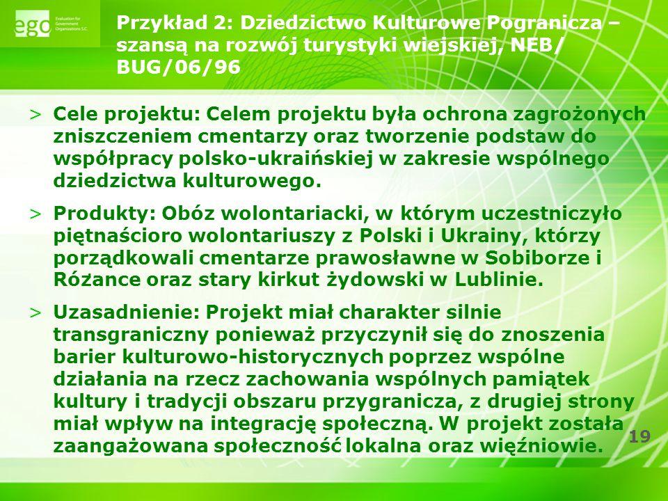 19 Przykład 2: Dziedzictwo Kulturowe Pogranicza – szansa ̨ na rozwój turystyki wiejskiej, NEB/ BUG/06/96 >Cele projektu: Celem projektu była ochrona zagrożonych zniszczeniem cmentarzy oraz tworzenie podstaw do współpracy polsko-ukraińskiej w zakresie wspólnego dziedzictwa kulturowego.
