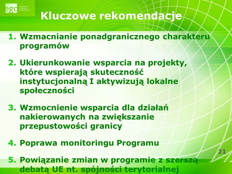21 Kluczowe rekomendacje 1.Wzmacnianie ponadgranicznego charakteru programów 2.Ukierunkowanie wsparcia na projekty, które wspierają skuteczność instytucjonalną I aktywizują lokalne społeczności 3.Wzmocnienie wsparcia dla działań nakierowanych na zwiększanie przepustowości granicy 4.Poprawa monitoringu Programu 5.Powiązanie zmian w programie z szerszą debatą UE nt.