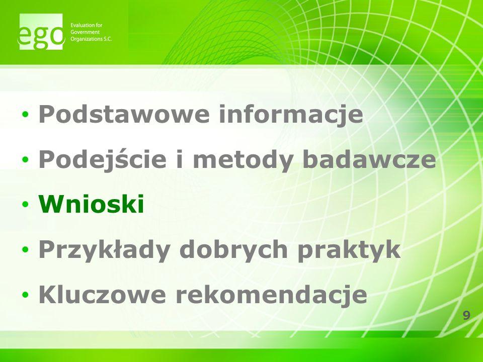9 Podstawowe informacje Podejście i metody badawcze Wnioski Przykłady dobrych praktyk Kluczowe rekomendacje