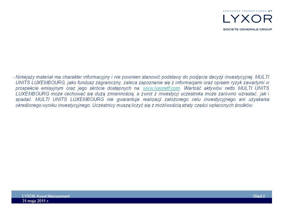 LYXOR Asset Management Slajd 2 31 maja 2011 r. -Niniejszy materiał ma charakter informacyjny i nie powinien stanowić podstawy do podjęcia decyzji inwe