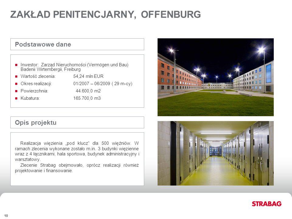 FINANCIALSAPPENDIX 10 ZAKŁAD PENITENCJARNY, OFFENBURG Opis projektu Realizacja więzienia pod klucz dla 500 więźniów. W ramach zlecenia wykonane został