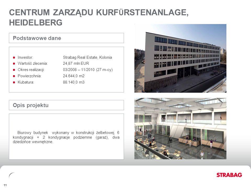 FINANCIALSAPPENDIX 11 CENTRUM ZARZĄDU KURF Ü RSTENANLAGE, HEIDELBERG Opis projektu Biurowy budynek wykonany w konstrukcji żelbetowej, 6 kondygnacji +