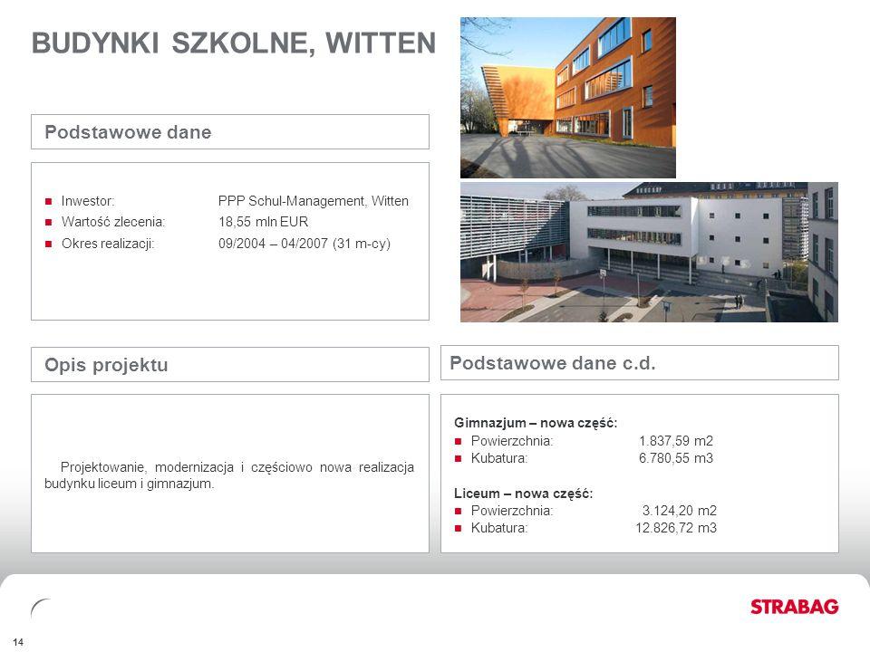 FINANCIALSAPPENDIX 14 BUDYNKI SZKOLNE, WITTEN Opis projektu Projektowanie, modernizacja i częściowo nowa realizacja budynku liceum i gimnazjum. Podsta