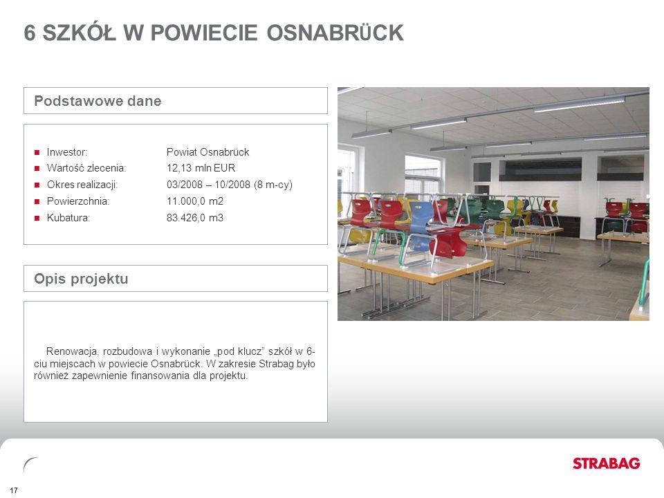 FINANCIALSAPPENDIX 17 6 SZKÓŁ W POWIECIE OSNABR Ü CK Opis projektu Renowacja, rozbudowa i wykonanie pod klucz szkół w 6- ciu miejscach w powiecie Osna