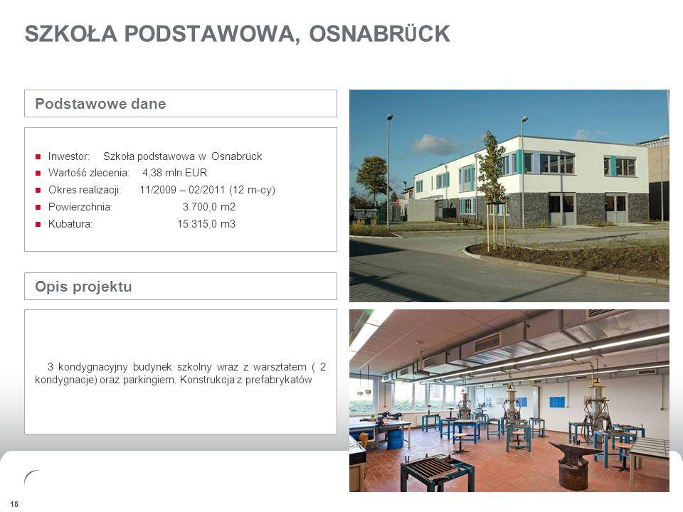 FINANCIALSAPPENDIX 18 SZKOŁA PODSTAWOWA, OSNABR Ü CK Opis projektu 3 kondygnacyjny budynek szkolny wraz z warsztatem ( 2 kondygnacje) oraz parkingiem.