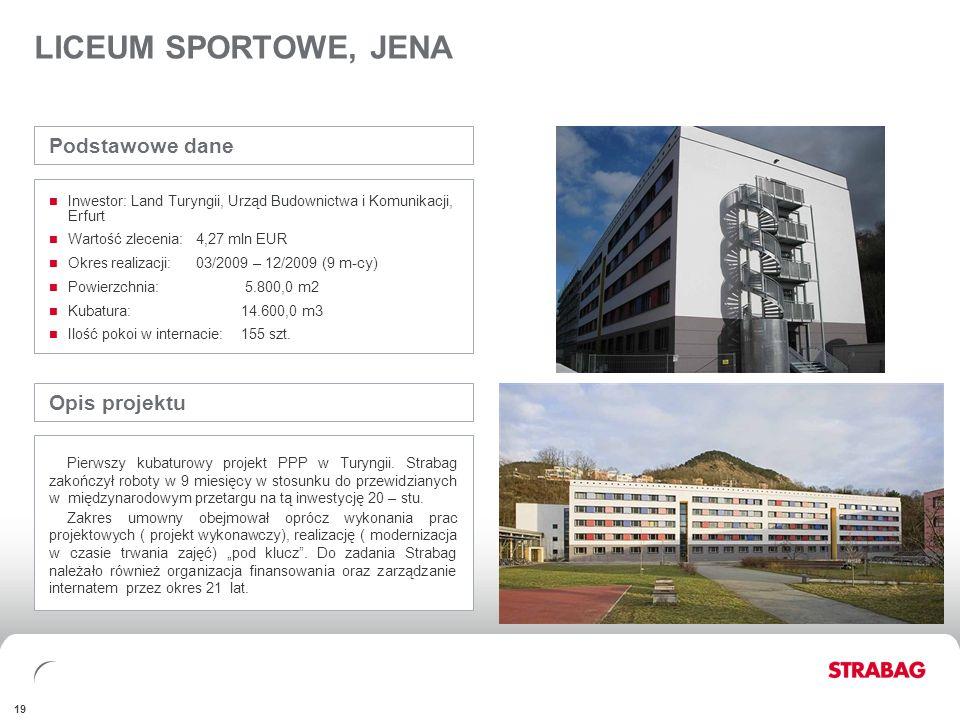 FINANCIALSAPPENDIX 19 LICEUM SPORTOWE, JENA Opis projektu Pierwszy kubaturowy projekt PPP w Turyngii. Strabag zakończył roboty w 9 miesięcy w stosunku
