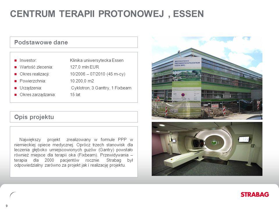 STRABAG GROUPFINANCIALSAPPENDIX 9 CENTRUM TERAPII PROTONOWEJ, ESSEN Opis projektu Największy projekt zrealizowany w formule PPP w niemieckiej opiece m