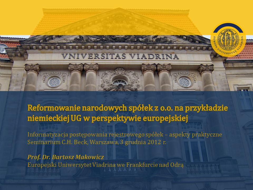 Reformowanie narodowych spółek w kontekście europejskim | Prof. Makowicz | Warszawa, 3.12.2012 r.