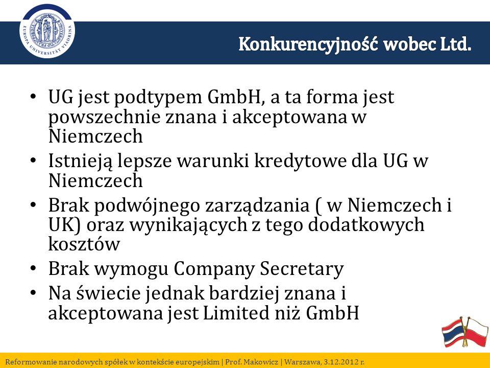UG jest podtypem GmbH, a ta forma jest powszechnie znana i akceptowana w Niemczech Istnieją lepsze warunki kredytowe dla UG w Niemczech Brak podwójnego zarządzania ( w Niemczech i UK) oraz wynikających z tego dodatkowych kosztów Brak wymogu Company Secretary Na świecie jednak bardziej znana i akceptowana jest Limited niż GmbH