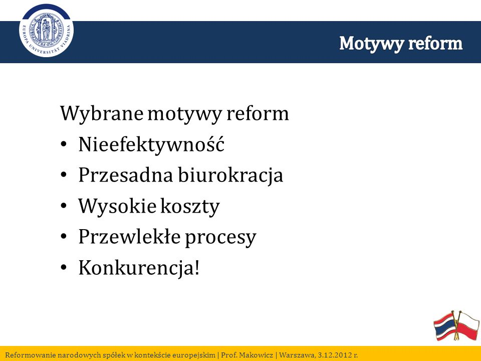 Wybrane motywy reform Nieefektywność Przesadna biurokracja Wysokie koszty Przewlekłe procesy Konkurencja!
