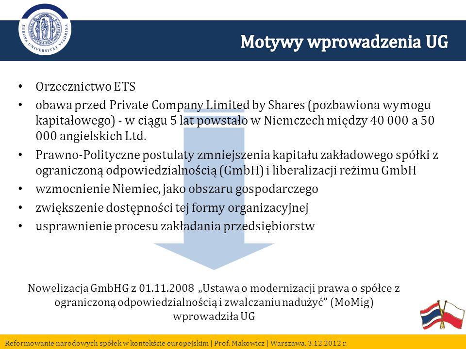 Nowelizacja GmbHG z 01.11.2008 Ustawa o modernizacji prawa o spółce z ograniczoną odpowiedzialnością i zwalczaniu nadużyć (MoMig) wprowadziła UG Orzecznictwo ETS obawa przed Private Company Limited by Shares (pozbawiona wymogu kapitałowego) - w ciągu 5 lat powstało w Niemczech między 40 000 a 50 000 angielskich Ltd.