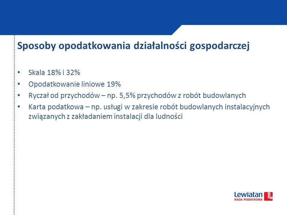 Sposoby opodatkowania działalności gospodarczej Skala 18% i 32% Opodatkowanie liniowe 19% Ryczał od przychodów – np. 5,5% przychodów z robót budowlany