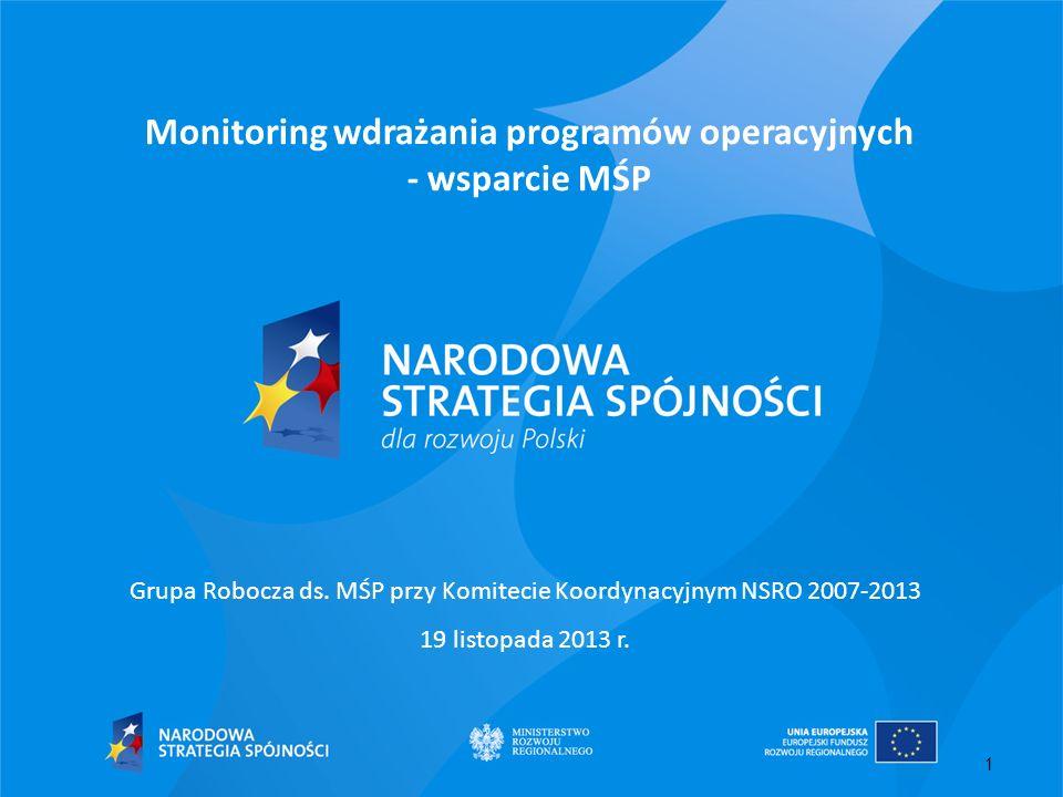 1 Monitoring wdrażania programów operacyjnych - wsparcie MŚP Grupa Robocza ds. MŚP przy Komitecie Koordynacyjnym NSRO 2007-2013 19 listopada 2013 r.