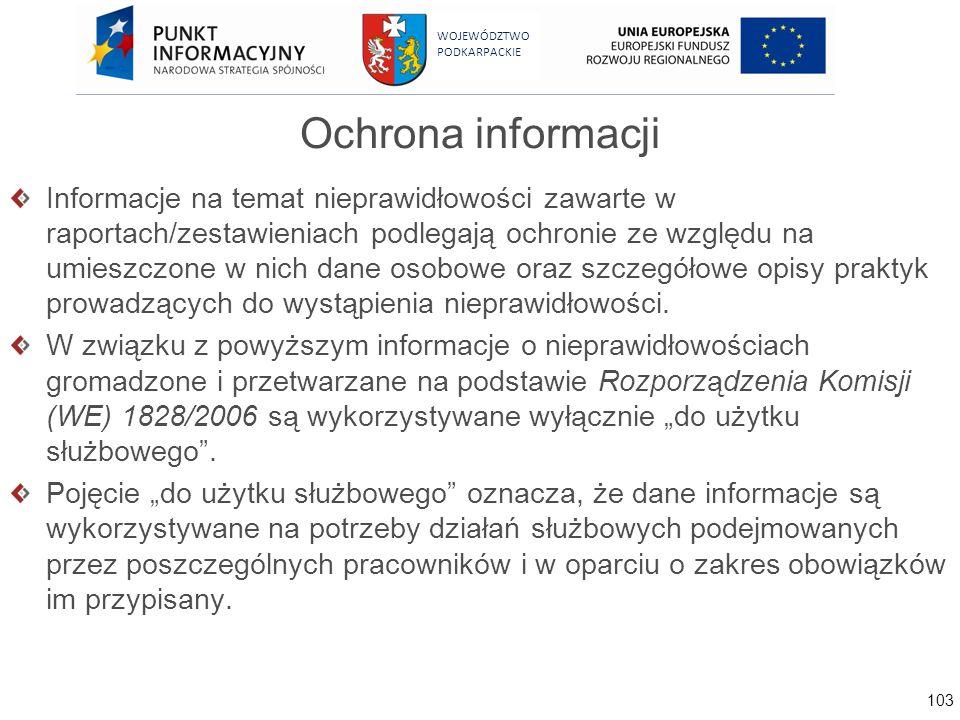 103 WOJEWÓDZTWO PODKARPACKIE Ochrona informacji Informacje na temat nieprawidłowości zawarte w raportach/zestawieniach podlegają ochronie ze względu n