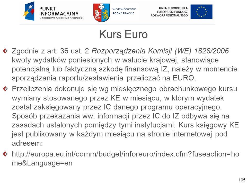 105 WOJEWÓDZTWO PODKARPACKIE Kurs Euro Zgodnie z art. 36 ust. 2 Rozporządzenia Komisji (WE) 1828/2006 kwoty wydatków poniesionych w walucie krajowej,