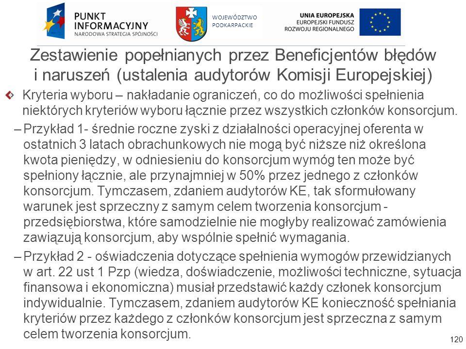 120 WOJEWÓDZTWO PODKARPACKIE Zestawienie popełnianych przez Beneficjentów błędów i naruszeń (ustalenia audytorów Komisji Europejskiej) Kryteria wyboru