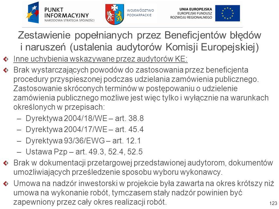 123 WOJEWÓDZTWO PODKARPACKIE Zestawienie popełnianych przez Beneficjentów błędów i naruszeń (ustalenia audytorów Komisji Europejskiej) Inne uchybienia