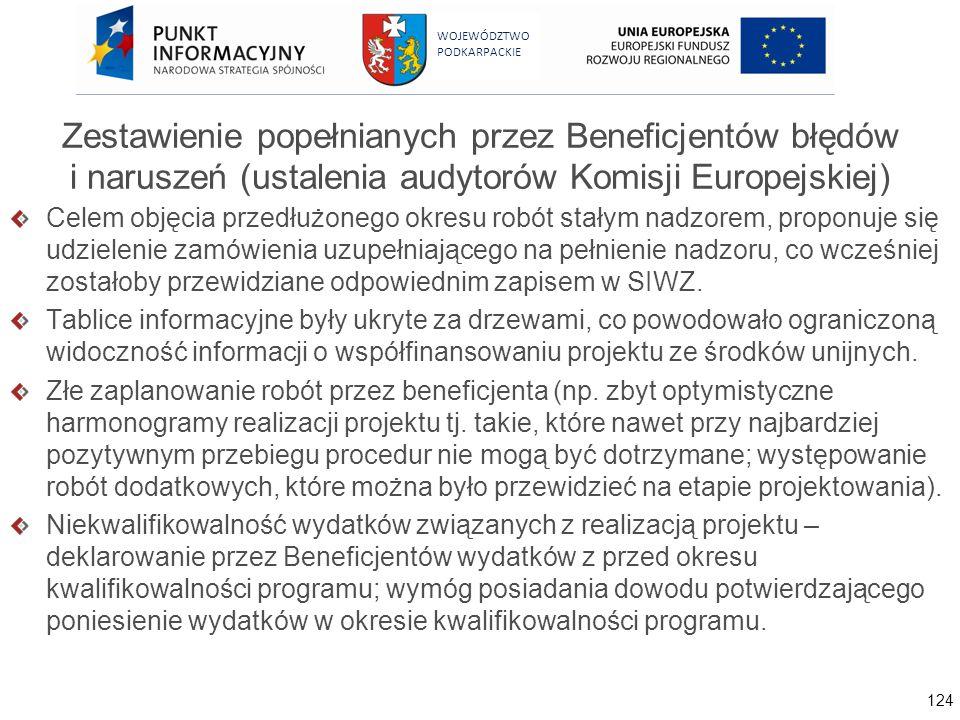 124 WOJEWÓDZTWO PODKARPACKIE Zestawienie popełnianych przez Beneficjentów błędów i naruszeń (ustalenia audytorów Komisji Europejskiej) Celem objęcia p
