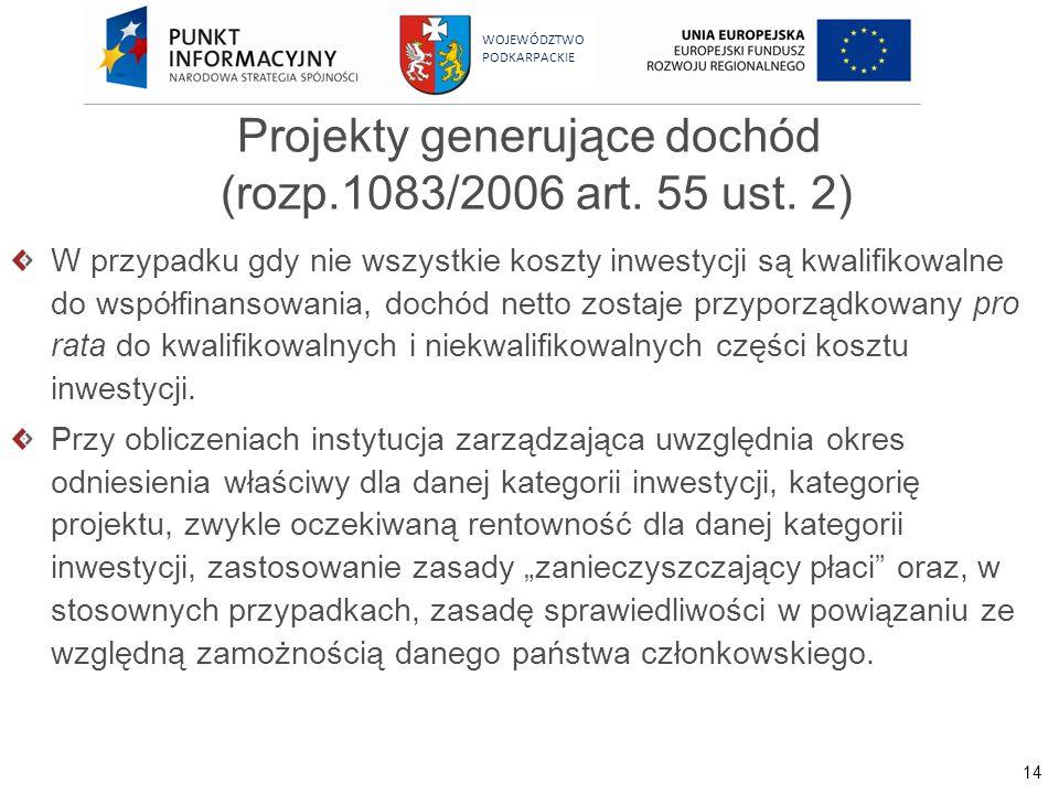 14 WOJEWÓDZTWO PODKARPACKIE Projekty generujące dochód (rozp.1083/2006 art. 55 ust. 2) W przypadku gdy nie wszystkie koszty inwestycji są kwalifikowal