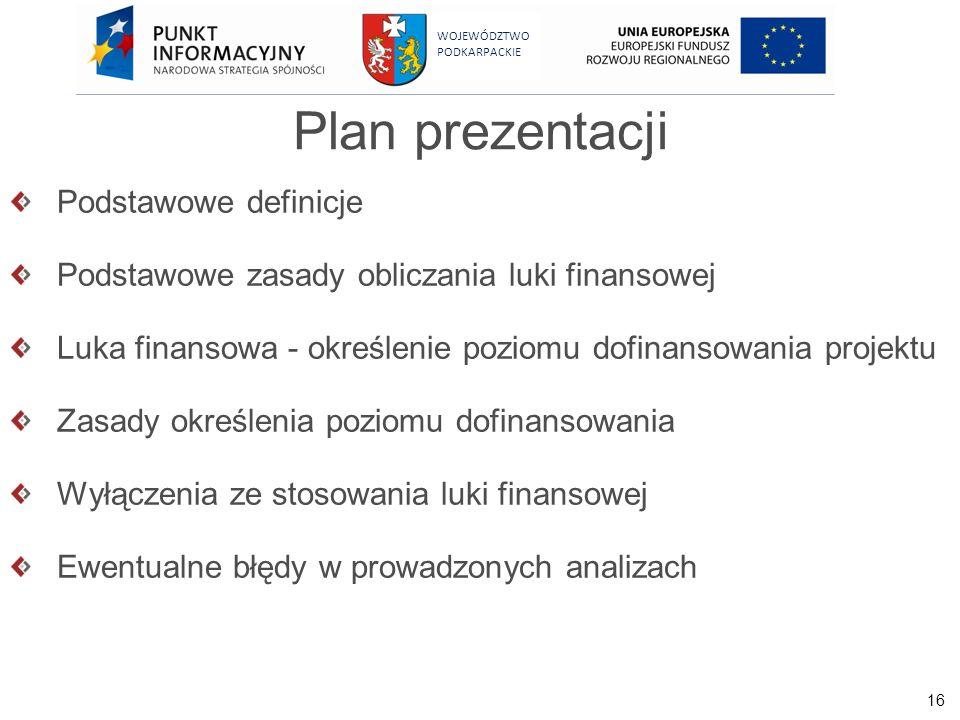 16 WOJEWÓDZTWO PODKARPACKIE Plan prezentacji Podstawowe definicje Podstawowe zasady obliczania luki finansowej Luka finansowa - określenie poziomu dof