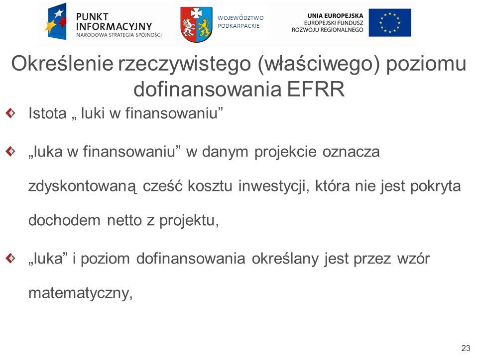 23 WOJEWÓDZTWO PODKARPACKIE Określenie rzeczywistego (właściwego) poziomu dofinansowania EFRR Istota luki w finansowaniu luka w finansowaniu w danym p
