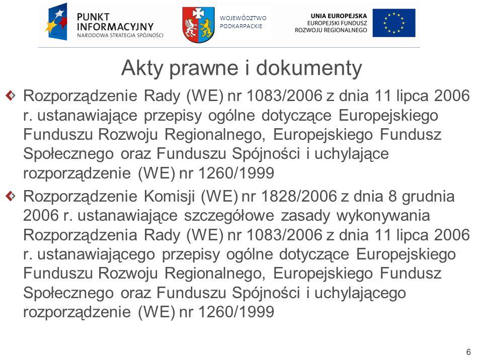 6 WOJEWÓDZTWO PODKARPACKIE Rozporządzenie Rady (WE) nr 1083/2006 z dnia 11 lipca 2006 r. ustanawiające przepisy ogólne dotyczące Europejskiego Fundusz