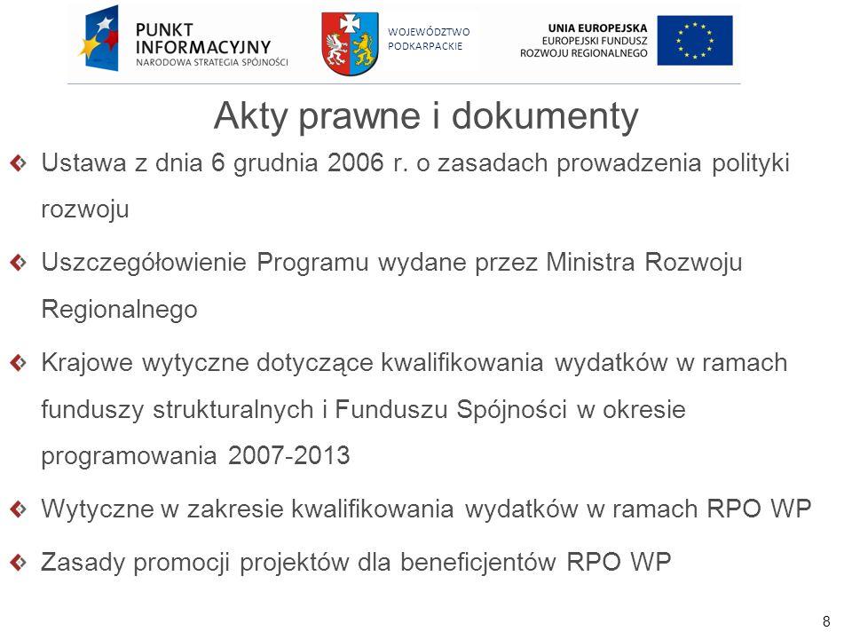 8 WOJEWÓDZTWO PODKARPACKIE Akty prawne i dokumenty Ustawa z dnia 6 grudnia 2006 r. o zasadach prowadzenia polityki rozwoju Uszczegółowienie Programu w
