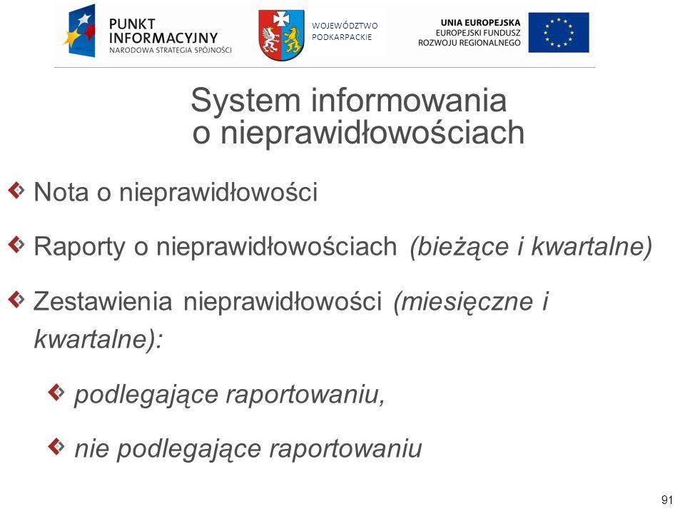 91 WOJEWÓDZTWO PODKARPACKIE System informowania o nieprawidłowościach Nota o nieprawidłowości Raporty o nieprawidłowościach (bieżące i kwartalne) Zest