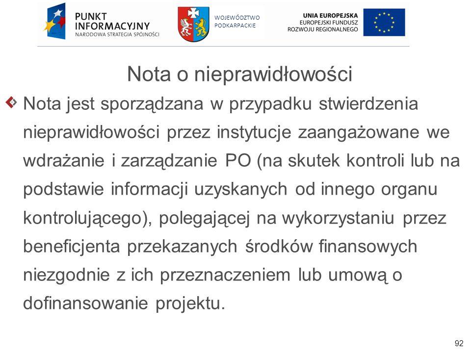 92 WOJEWÓDZTWO PODKARPACKIE Nota o nieprawidłowości Nota jest sporządzana w przypadku stwierdzenia nieprawidłowości przez instytucje zaangażowane we w