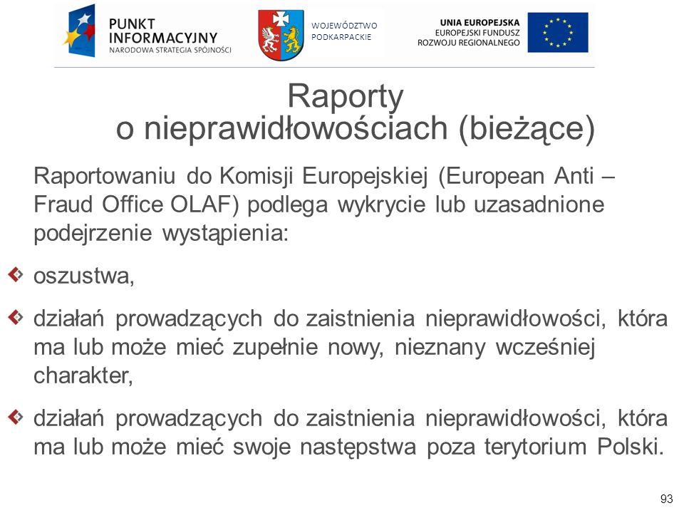 93 WOJEWÓDZTWO PODKARPACKIE Raporty o nieprawidłowościach (bieżące) Raportowaniu do Komisji Europejskiej (European Anti – Fraud Office OLAF) podlega w