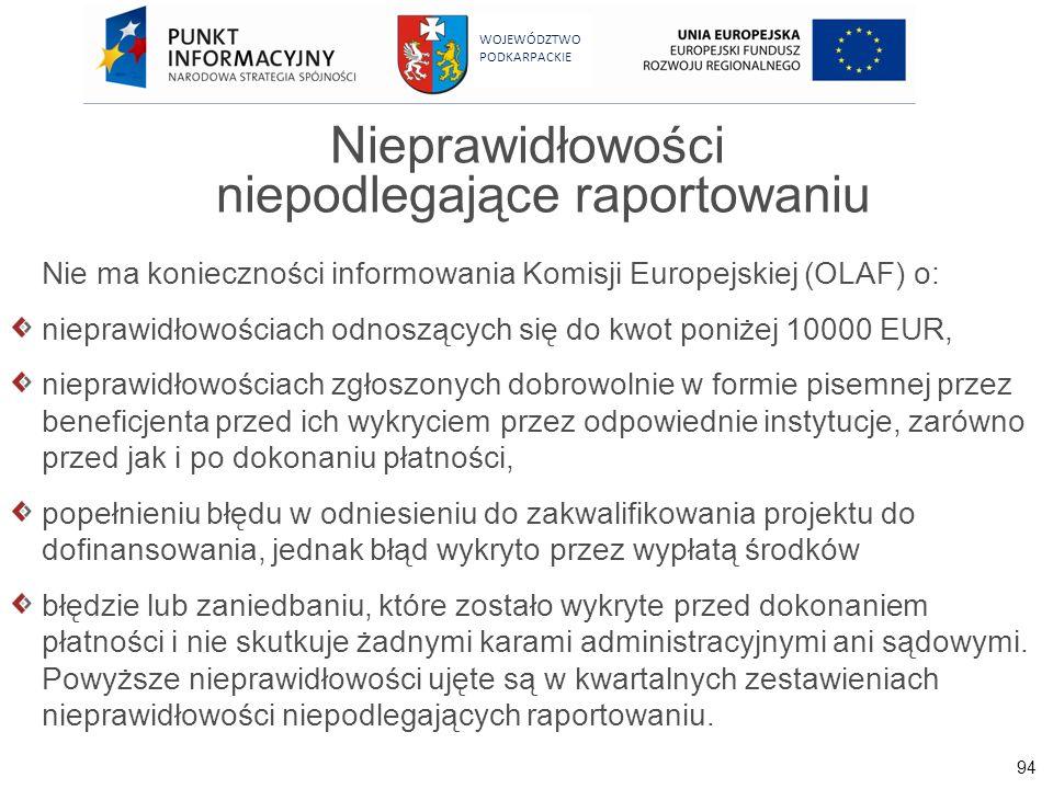94 WOJEWÓDZTWO PODKARPACKIE Nieprawidłowości niepodlegające raportowaniu Nie ma konieczności informowania Komisji Europejskiej (OLAF) o: nieprawidłowo