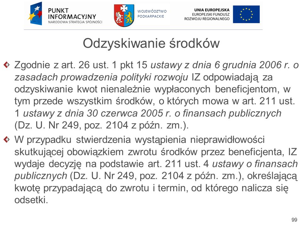 99 WOJEWÓDZTWO PODKARPACKIE Odzyskiwanie środków Zgodnie z art. 26 ust. 1 pkt 15 ustawy z dnia 6 grudnia 2006 r. o zasadach prowadzenia polityki rozwo