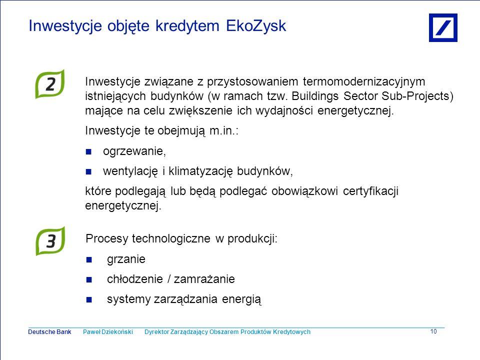 Paweł Dziekoński Dyrektor Zarządzający Obszarem Produktów Kredytowych Deutsche Bank 10 Inwestycje objęte kredytem EkoZysk Inwestycje związane z przyst