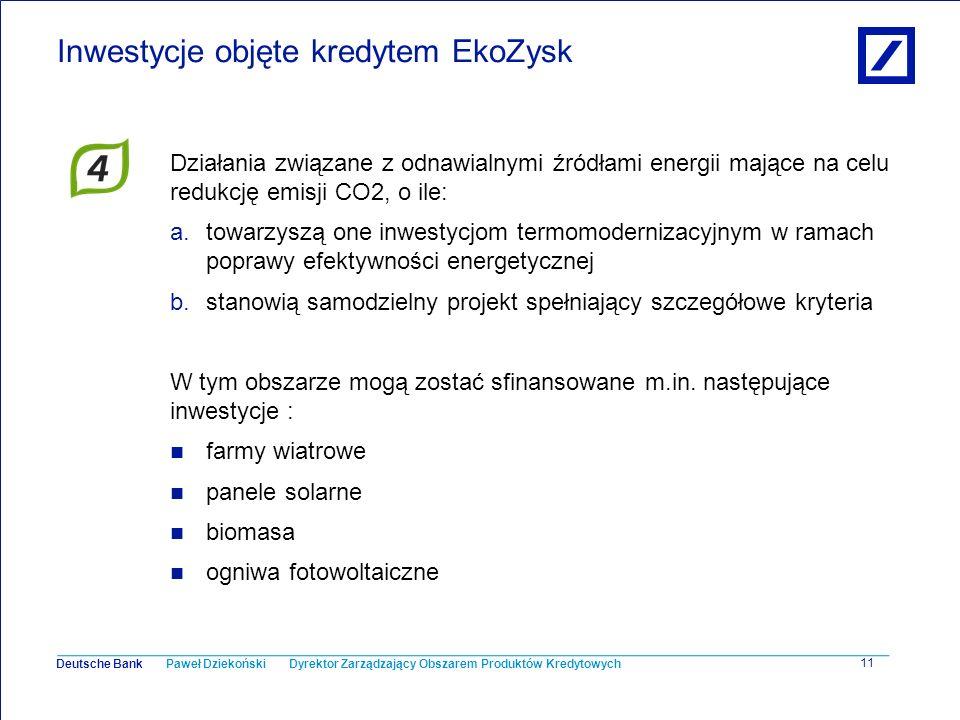 Paweł Dziekoński Dyrektor Zarządzający Obszarem Produktów Kredytowych Deutsche Bank 11 Inwestycje objęte kredytem EkoZysk Działania związane z odnawia